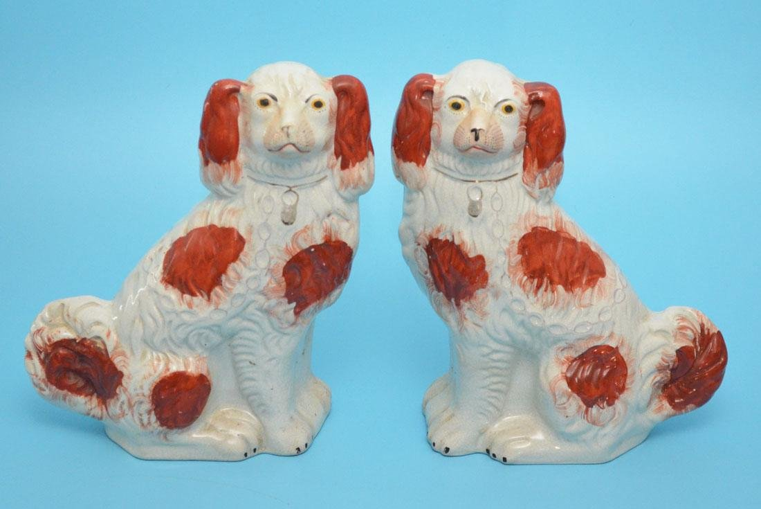 Pr of Staffordshire Porcelain King Charles Spaniel Dogs