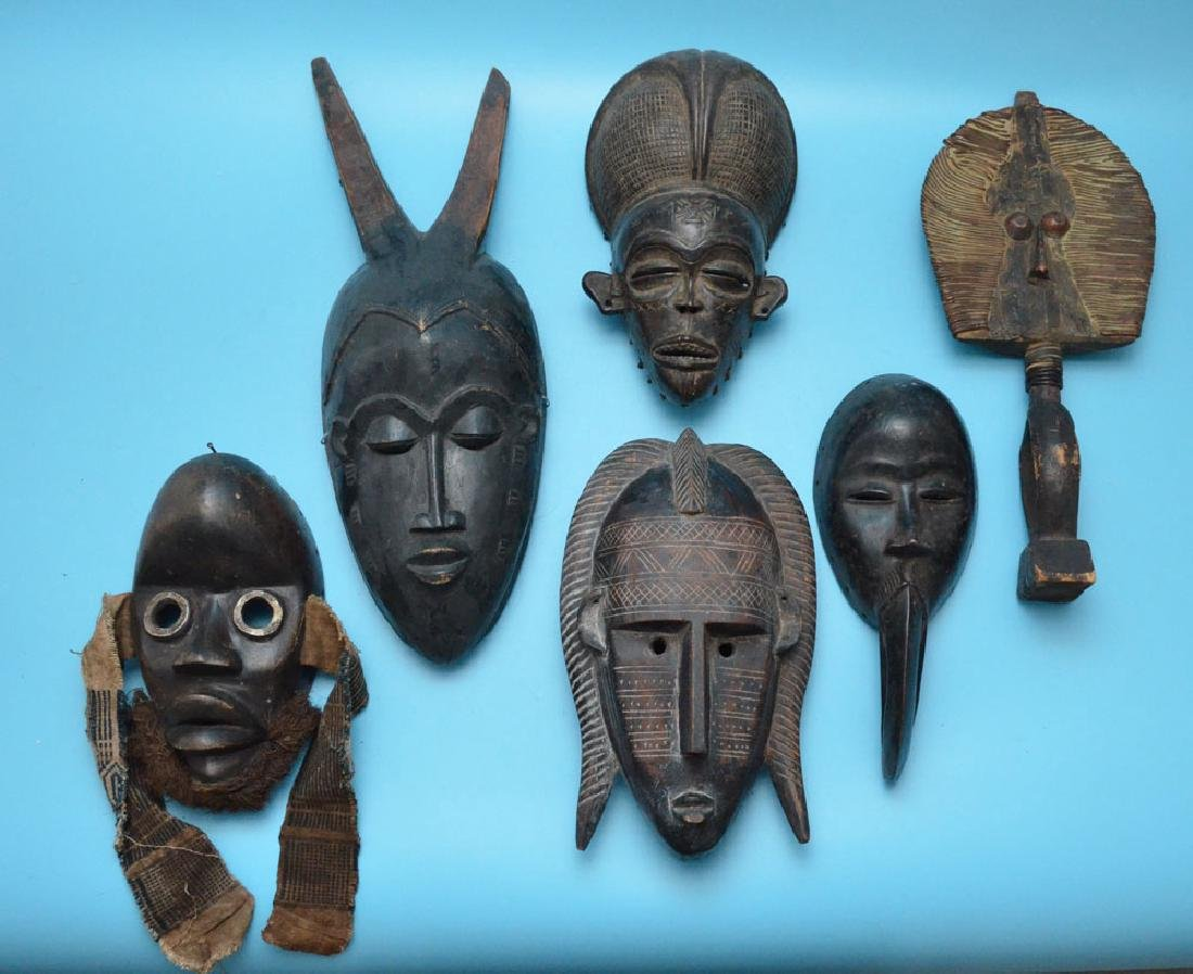 Lot of 6 Vintage / Antique African Masks