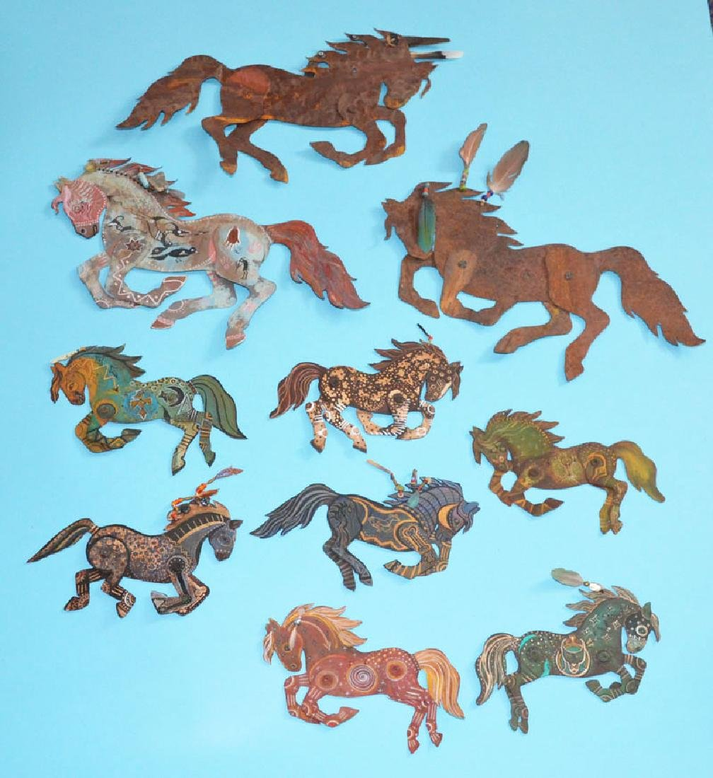 Lot of 10 Painted Tin Horses Signed Peacock