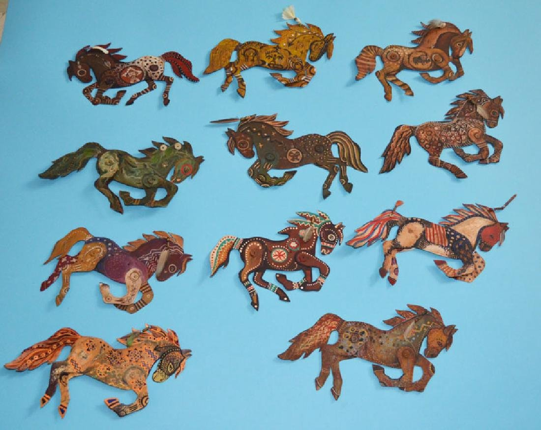 Lot of 11 Painted Tin Horses Signed Peacock