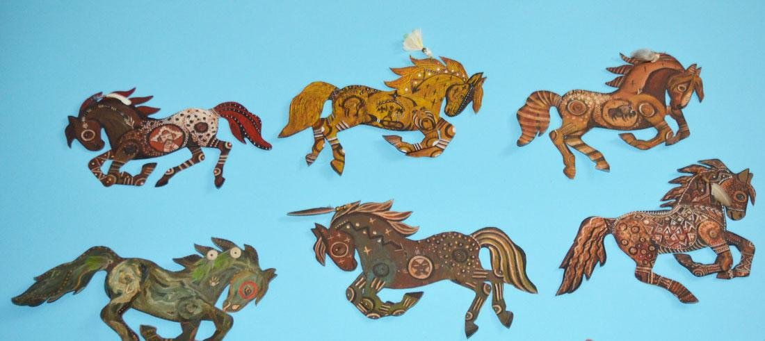 Lot of 11 Painted Tin Horses Signed Peacock - 2