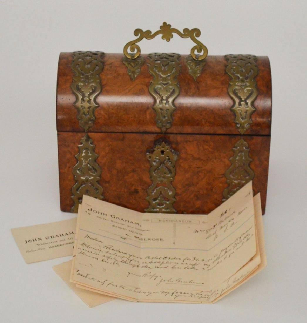 English Burl Wood Stationary Box w Ornate Strapping