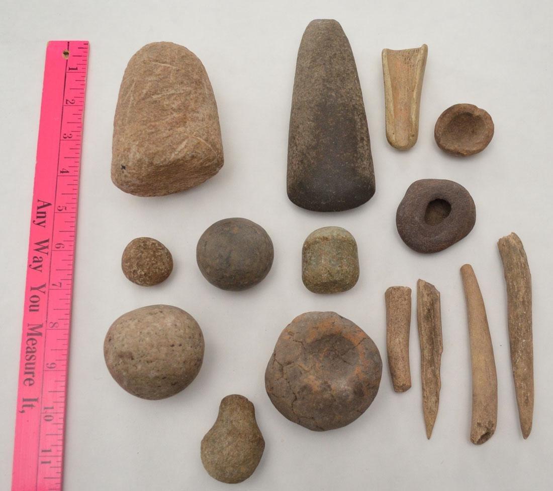 Native American Game Stones, Bone Tools  & Paint Pots