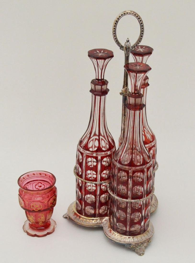 3 Bohemian Glass Decanters w Silver-plate Holder & Vase