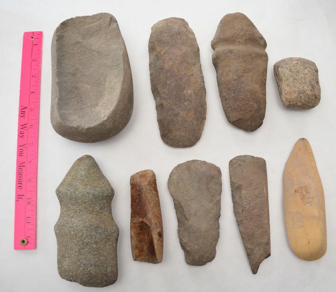 Native American Ax Heads, Hoes, Gouges