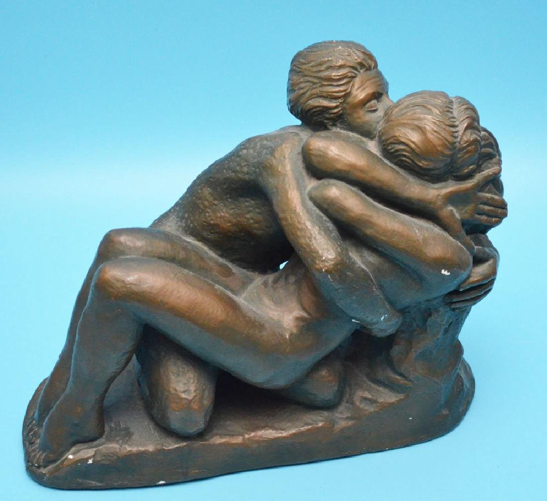 Marwal Bronzed Chalkware Lovers Statue