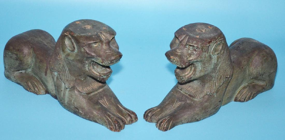 Pair Of Antique Architectural  Carved Wooden Lions