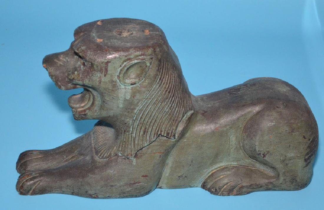 Pair Of Antique Architectural  Carved Wooden Lions - 2