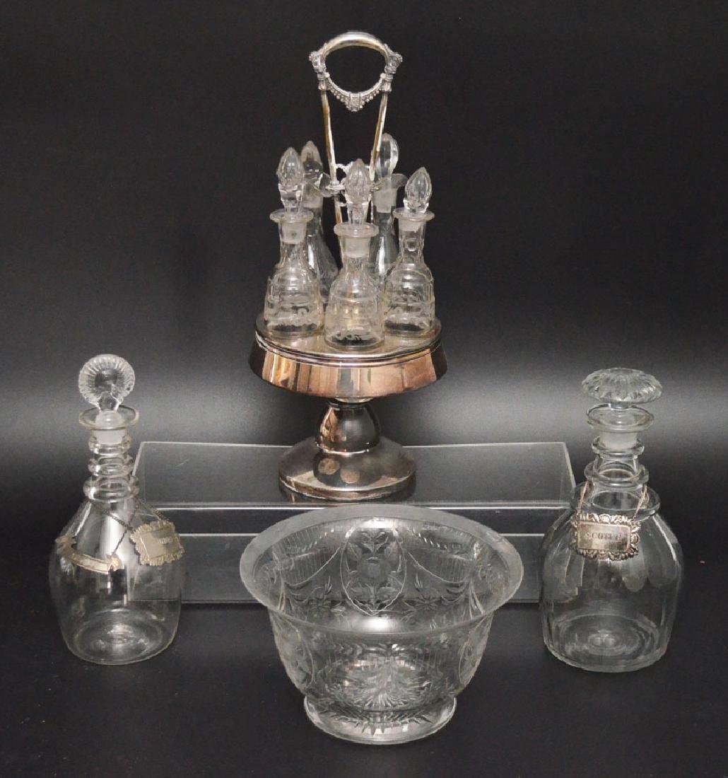 Antique Glassware Lot (Cruet Set, Decanters, Bowl)