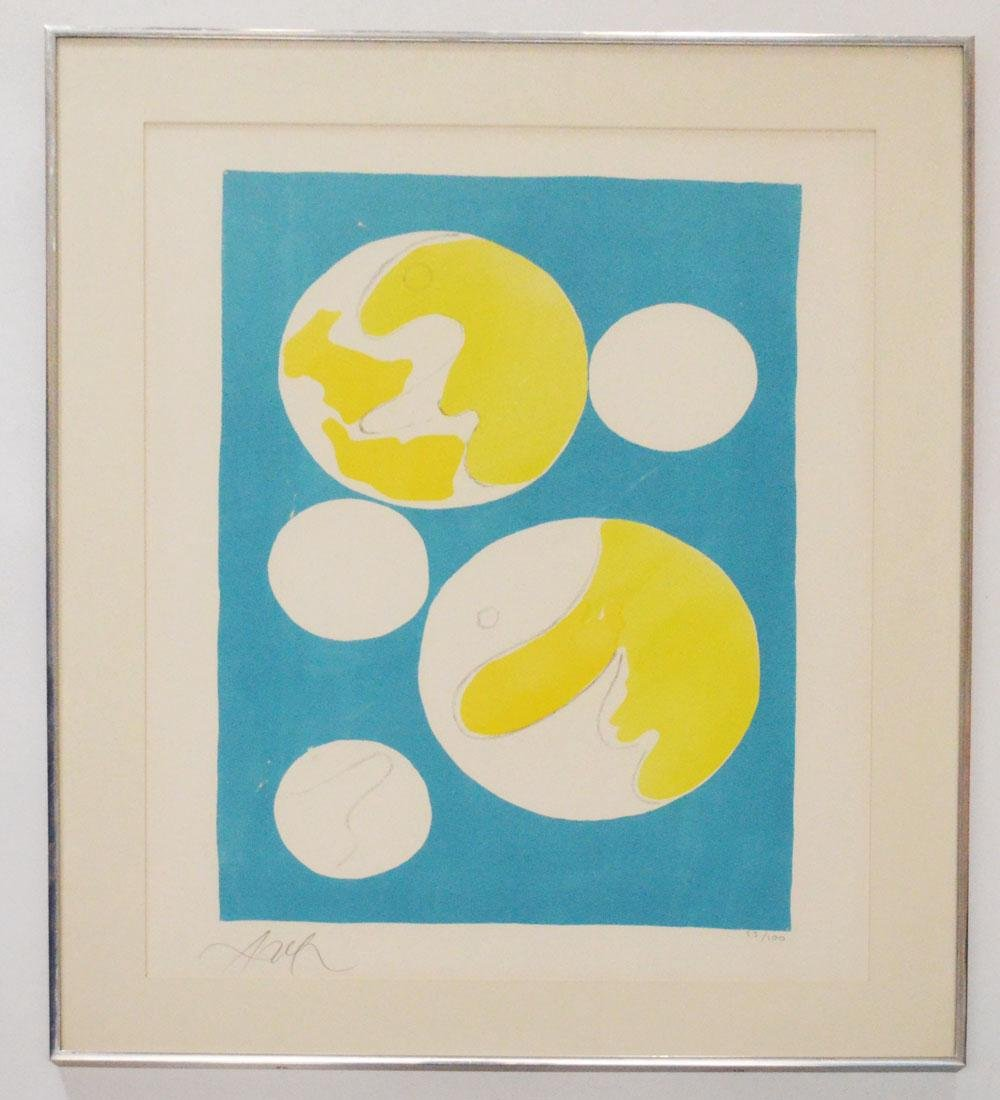 Illegibly Signed Blue & Yellow Numbered Litho