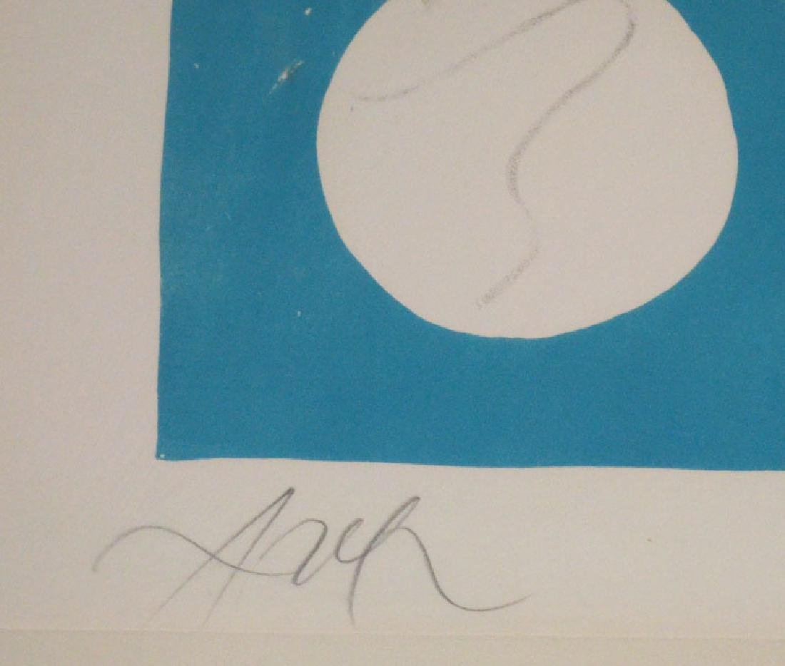 Illegibly Signed Blue & Yellow Numbered Litho - 2