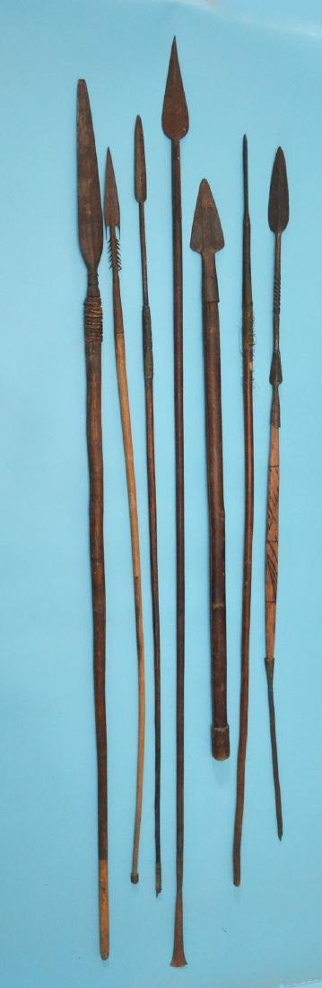 7 Antique Metal & Wood Spears (Mostly African)
