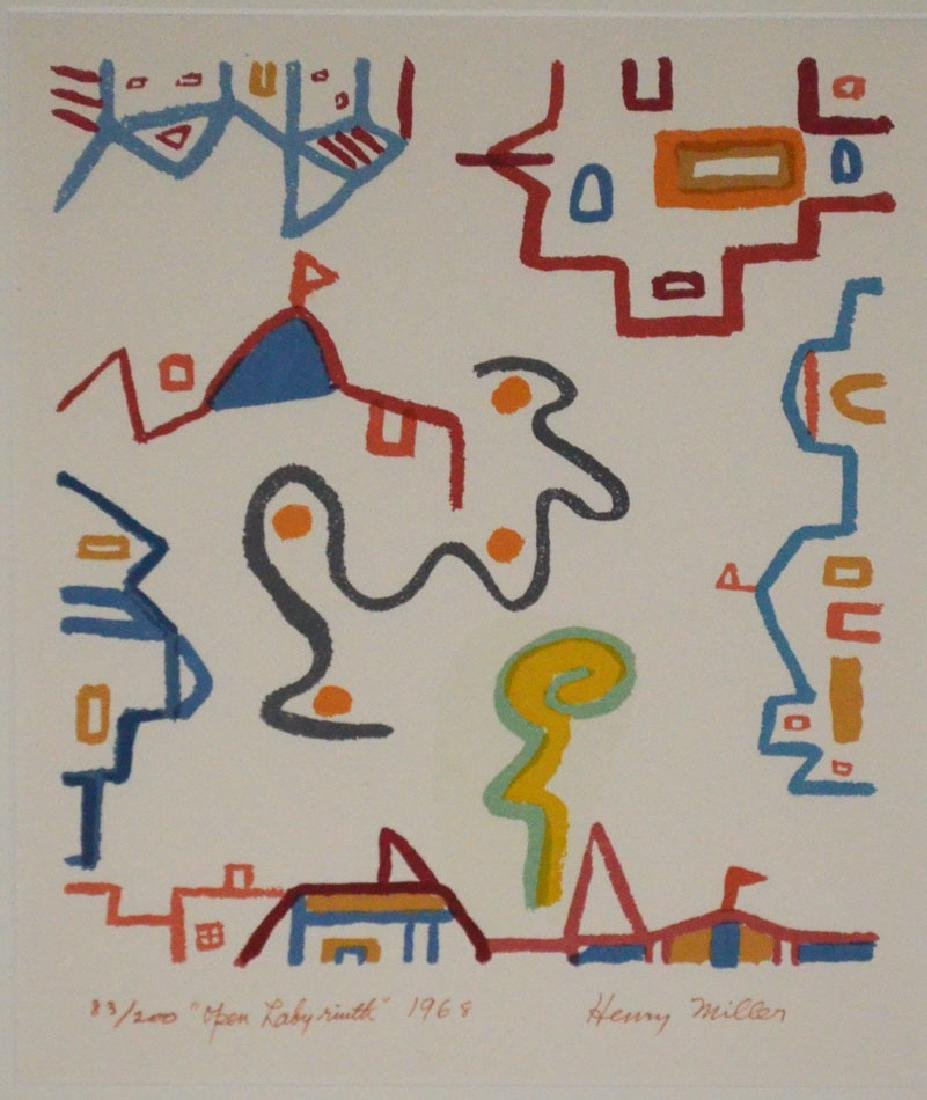 Signed & Numbered Henry Miller Lithograph - 2