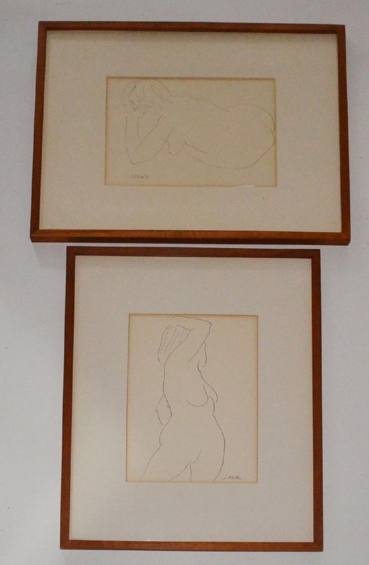 2 Signed Steve Wada Nude Line Drawings