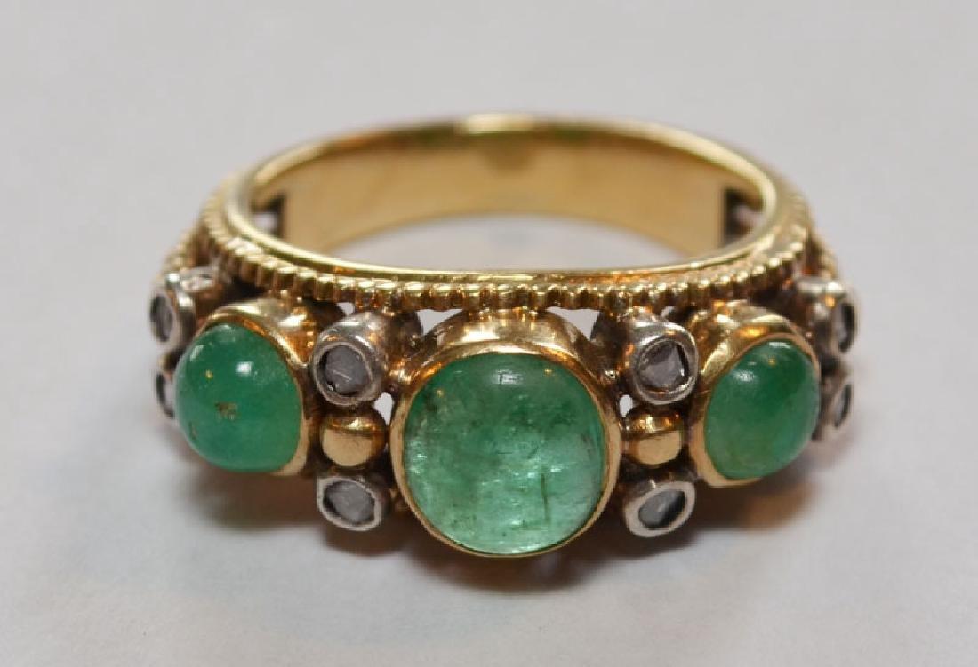 18k Gold, Emerald & Diamond Ring