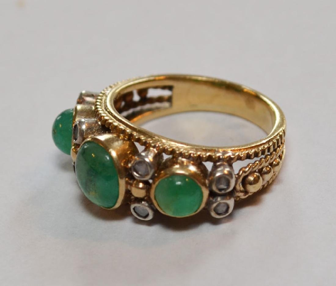 18k Gold, Emerald & Diamond Ring - 2