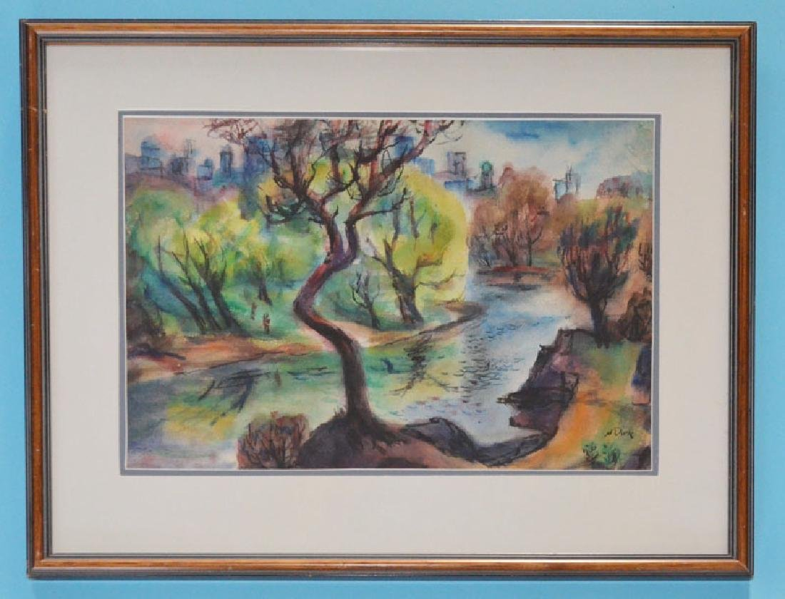 N Dirk Chartreuse Foliage Original Watercolor Painting
