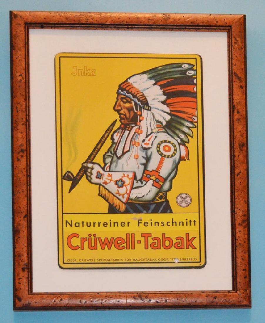 Nicely Framed Vintage Cruwell -Tabak Tobacco Sign