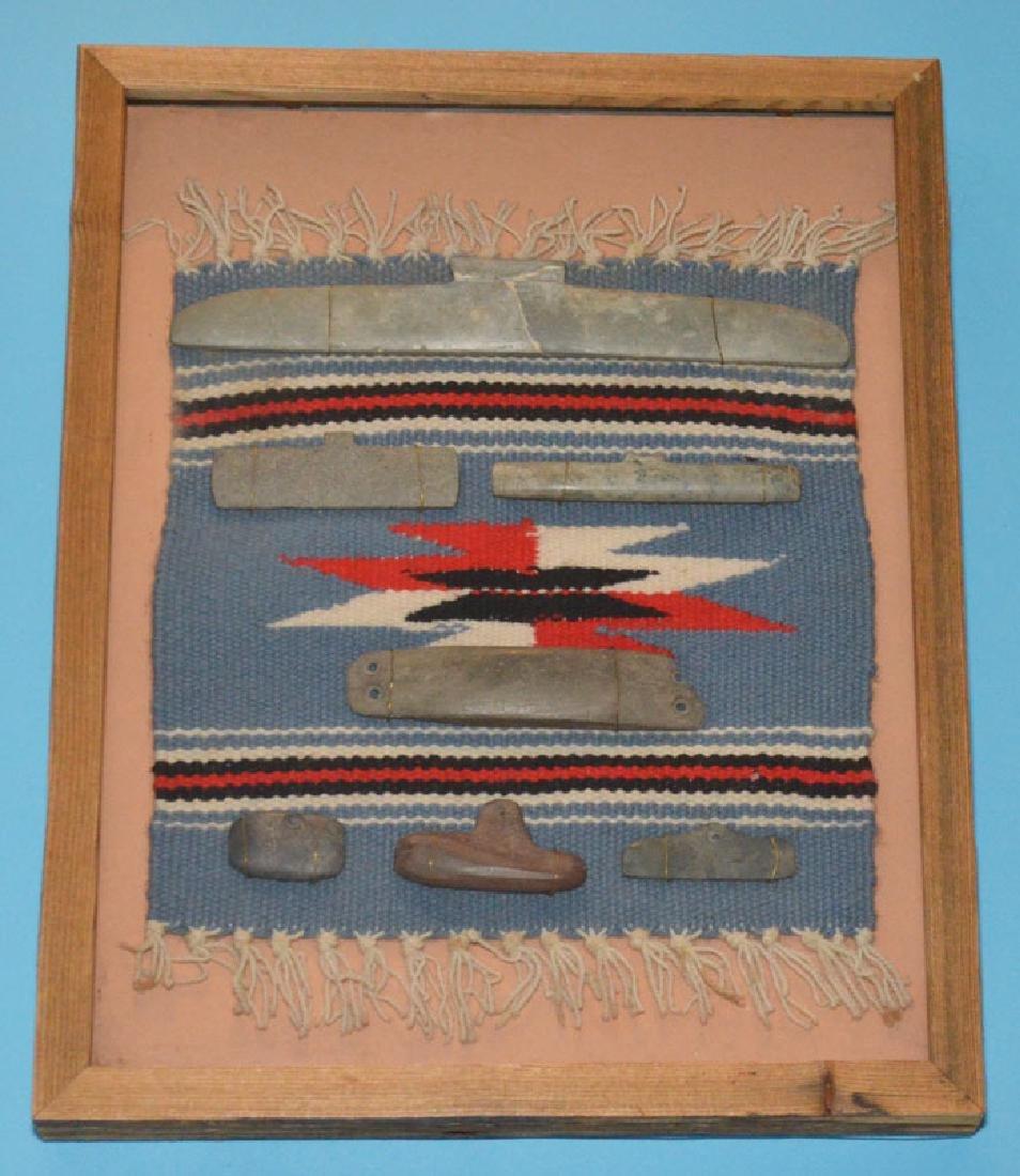 Framed Native American Blanket & Stone Tools
