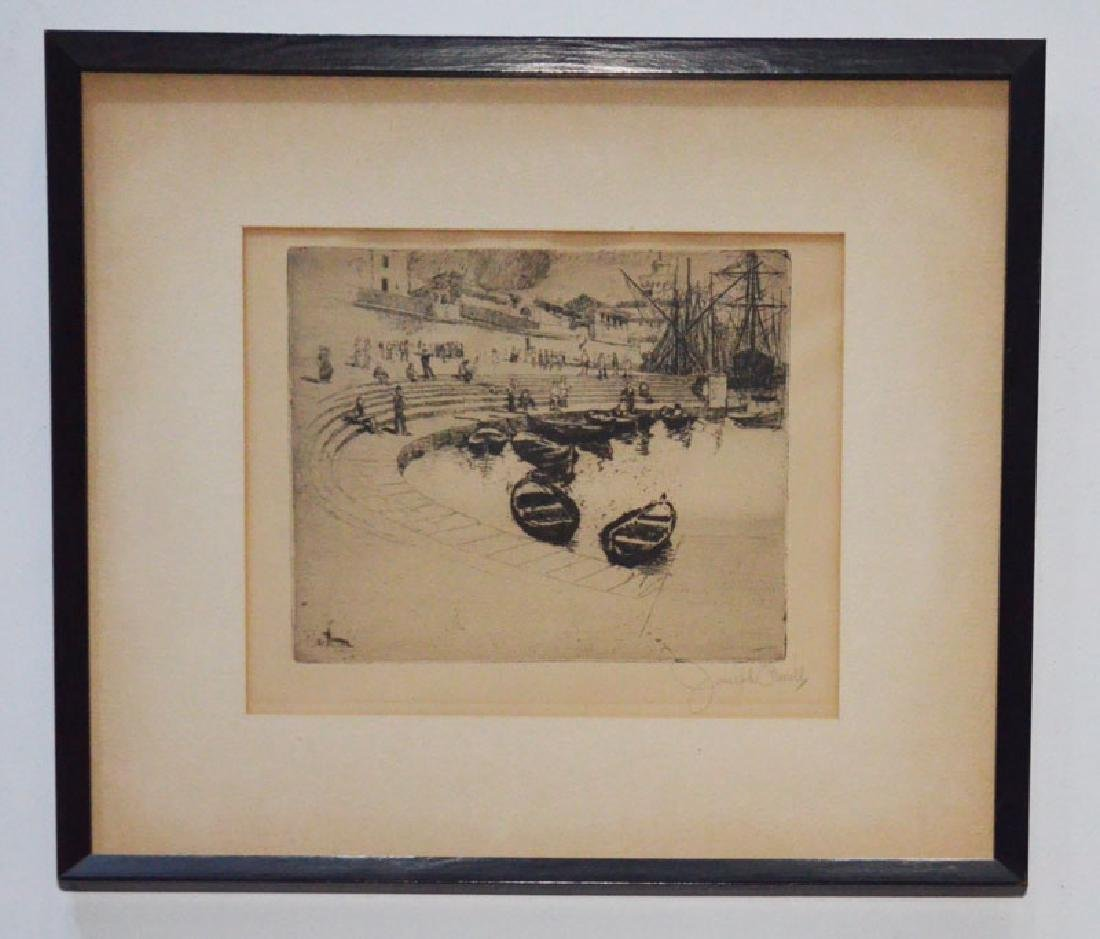 Joseph Pennel Etching Of A Boat Dock