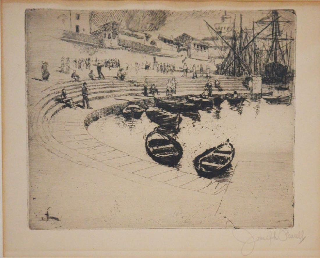 Joseph Pennel Etching Of A Boat Dock - 2