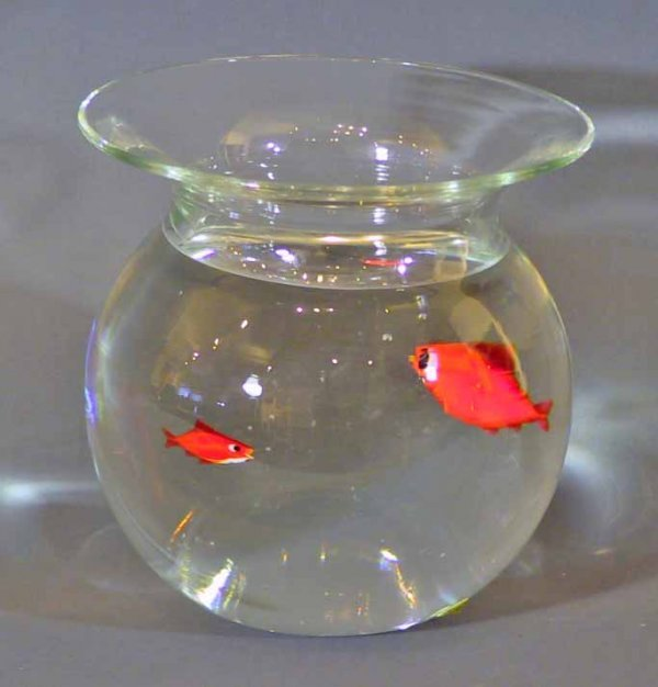 2: Unique Italian Signed Glass And Lucite Fish Bowl