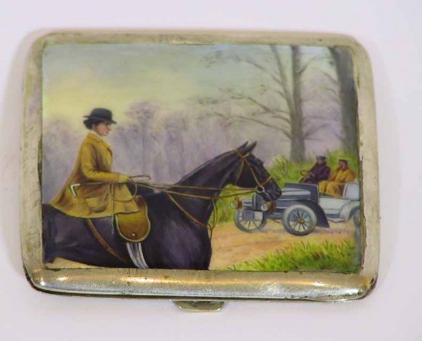 11: Vintage French Enamel Sterling 800 Cigarette Case