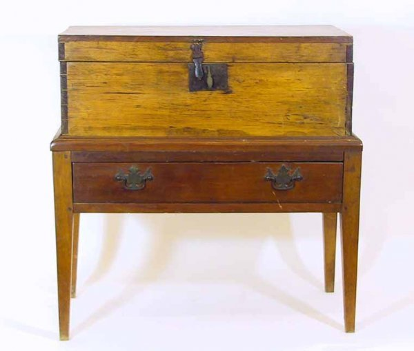 14: 19th C. Americana Small Chest On Stand