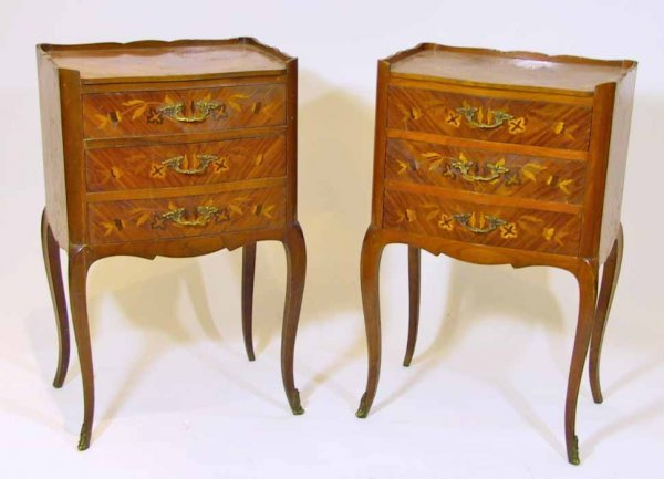 21: Pair Of Inlaid French Style Italian Nightstands
