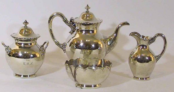 24: 4 Piece Lincoln & Foss Pure Coin Silver Tea Set