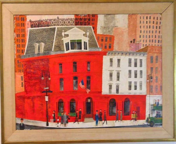 248: Retro Vintage Signed O/B Mixed Media Street Scene