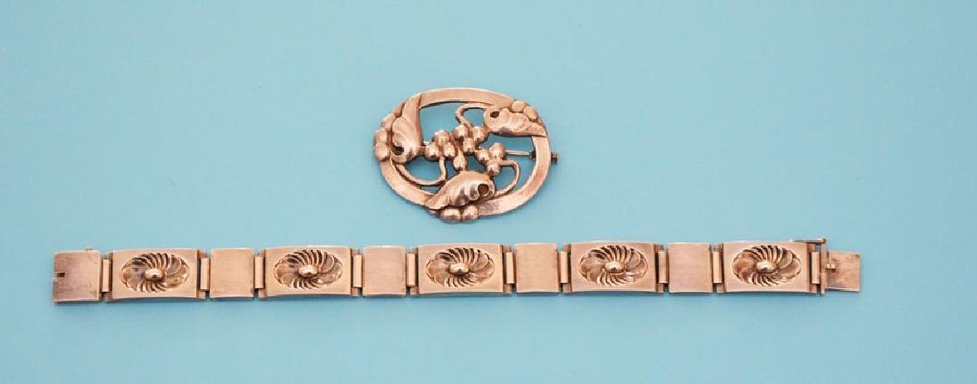 Wonderful Georg Jensen Sterling Bracelet And Pin - 2