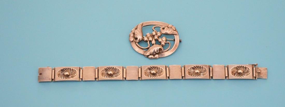 Wonderful Georg Jensen Sterling Bracelet And Pin - 3