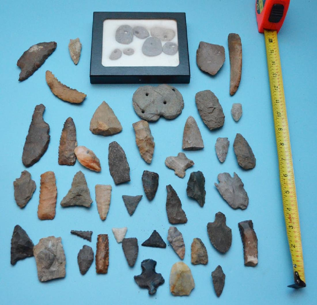Lot Of Native American Gorgets, Arrowheads Artifacts