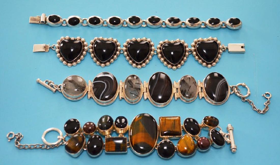 4 sterling Silver & Onyx  Bracelets