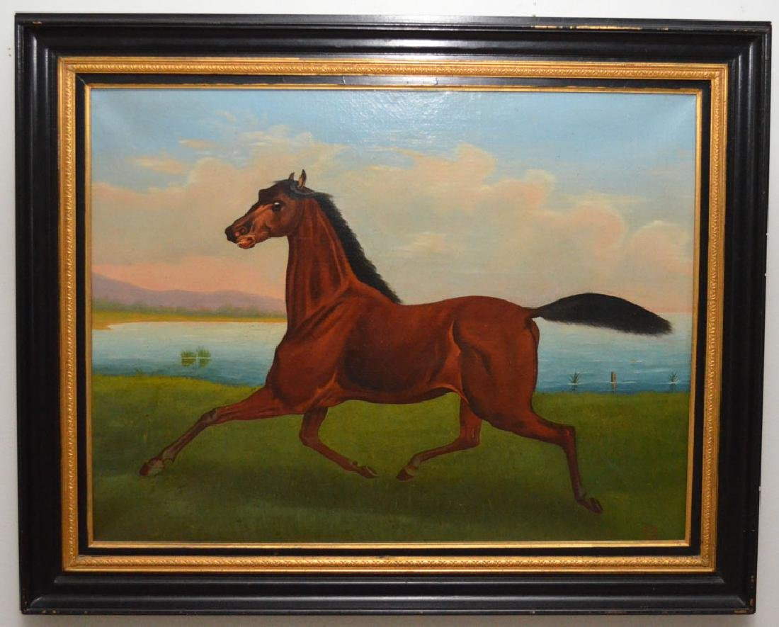 O/C Painting Of A Champion Horse Signed  L.B 1868?