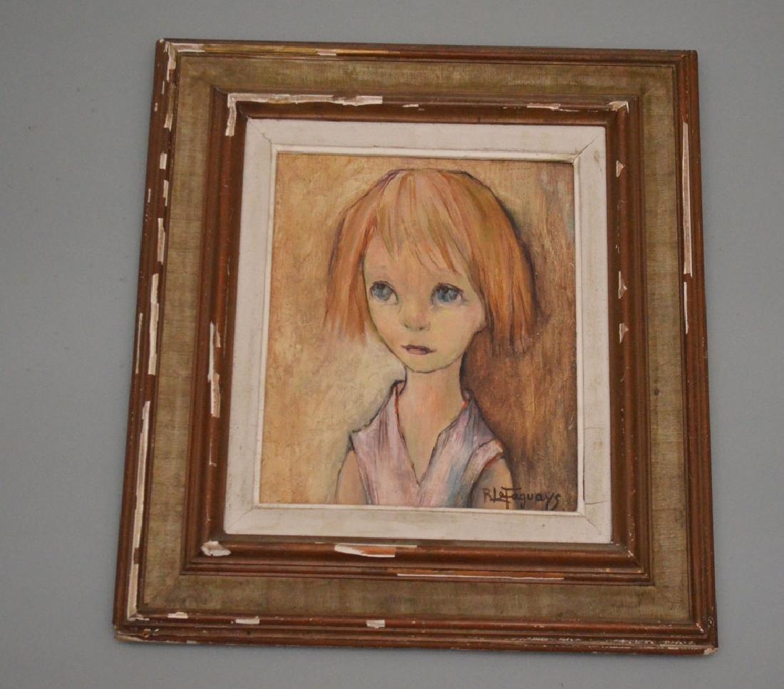 Pierre Le Faguays Big Eyes Girl Painting