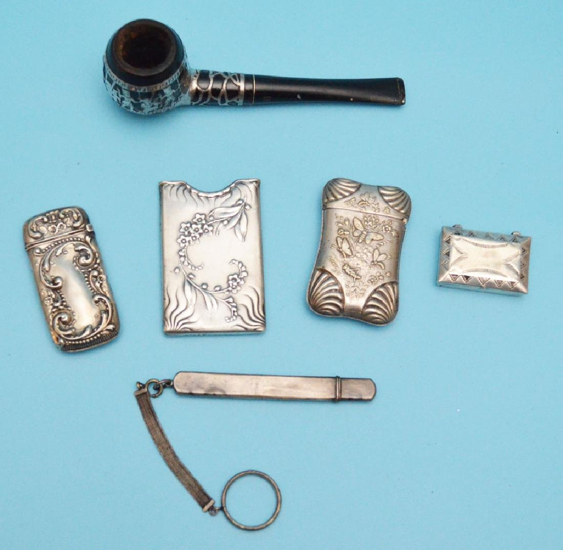 Collection of Vintage Sterling Match Safes &