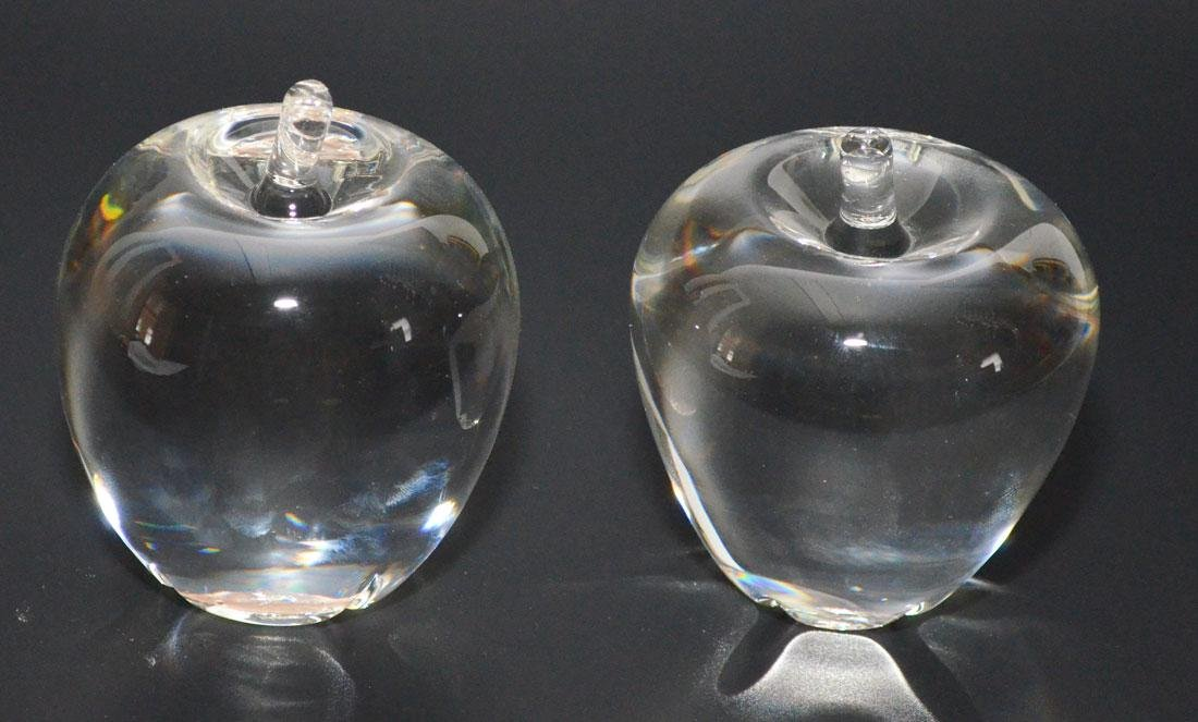 2 Signed Steuben Art Glass Apple Paperweights