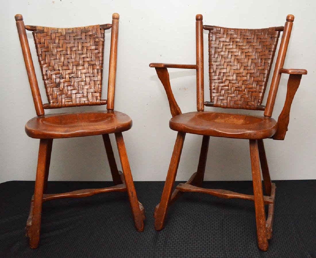Pair of Old Hickory Arm & Side Chair