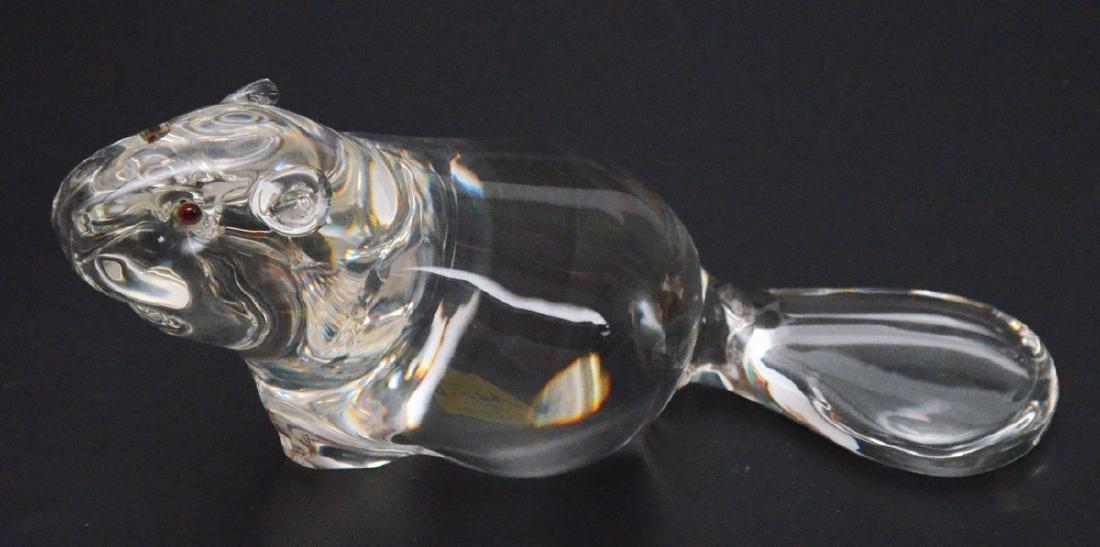 Large Size Signed Steuben Art Glass Beaver