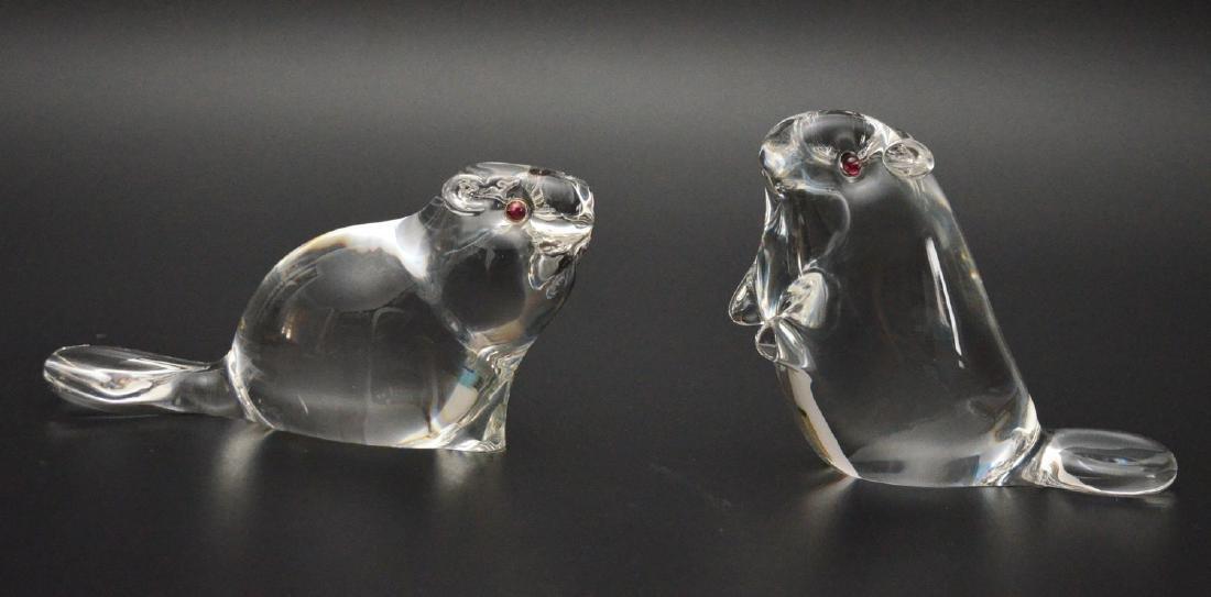 2 Signed Steuben Art Glass Beavers