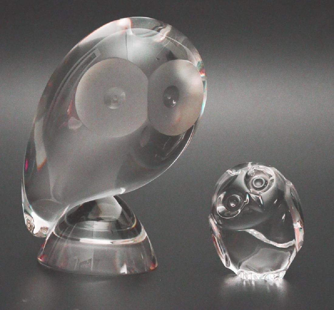 2 Steuben Art Glass Owls (Large Statue & Hand Cooler)