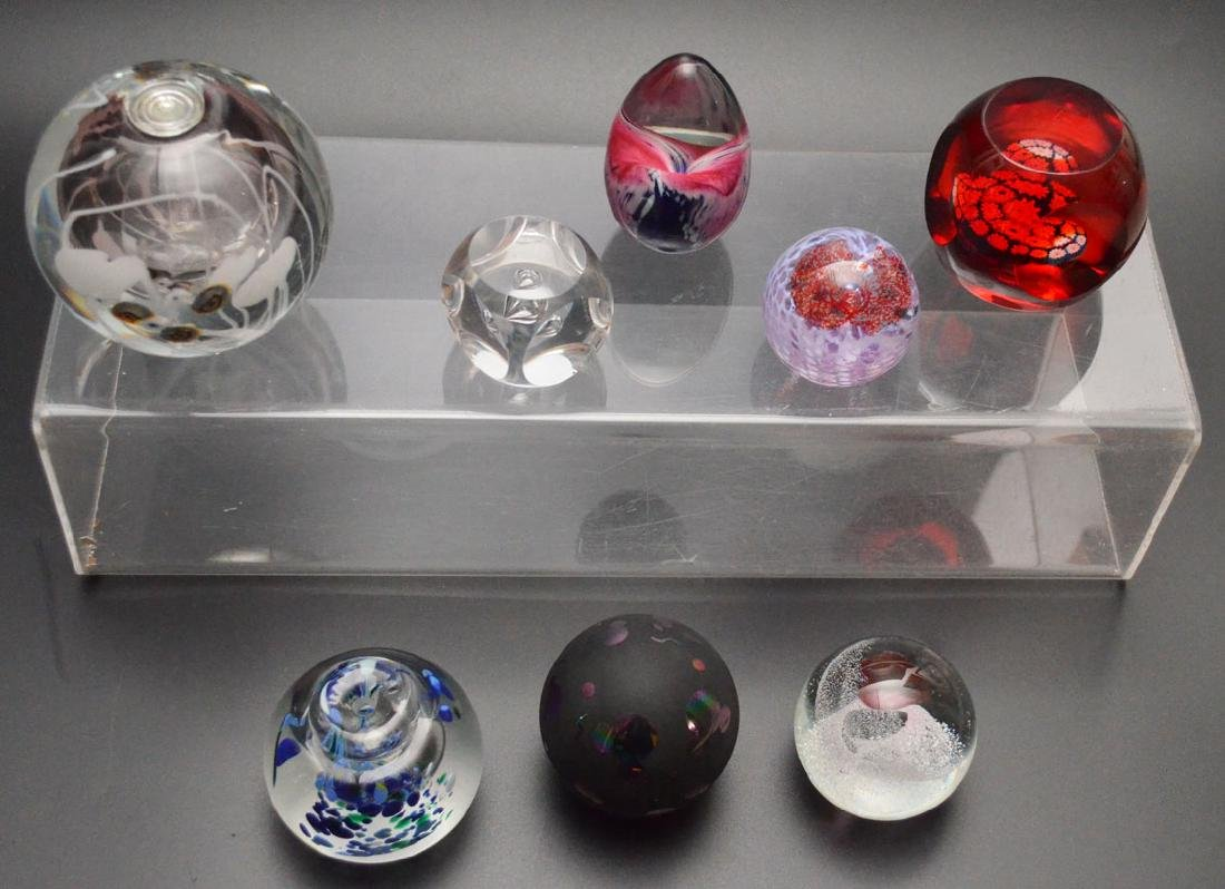 8 Signed Art Glass Paperweight (Caithness, GES, etc)