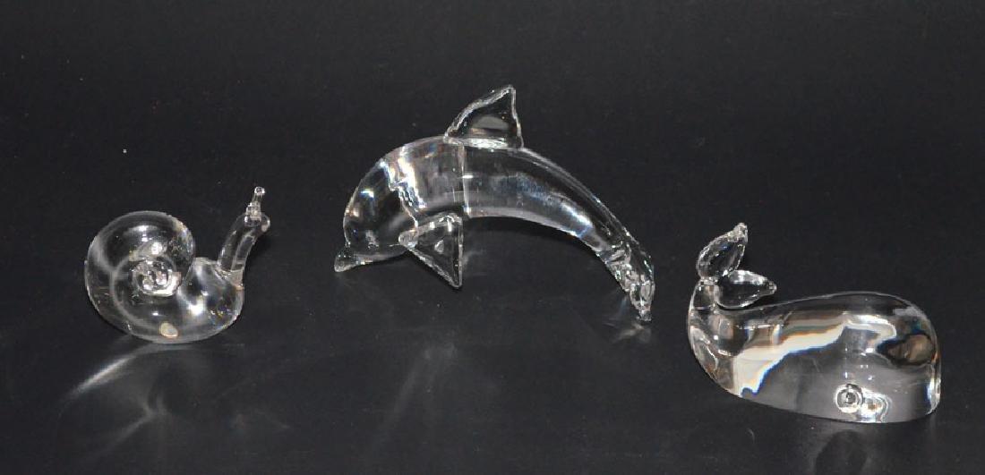 Steuben Art Glass  Lot ( Dolphin, Whale, Snail )