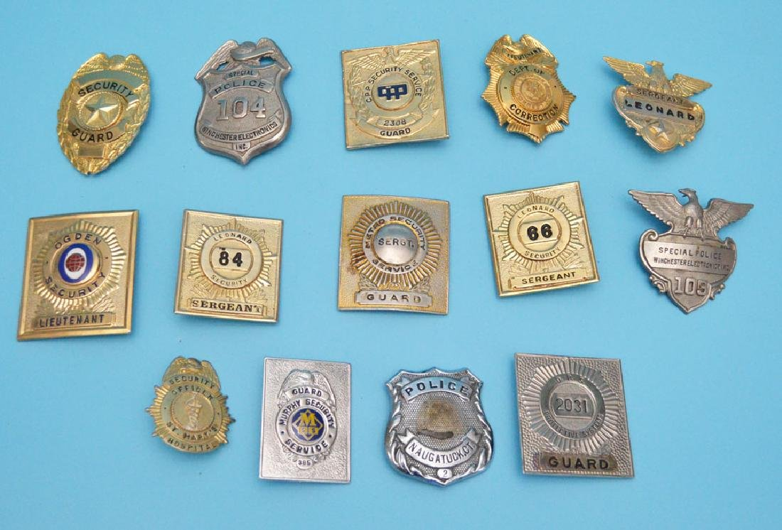 14 Vintage Police Security & Guard Badges,
