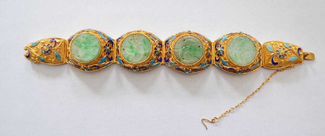 Chinese Vermeil Filigree Bracelet w Enamel & Carved