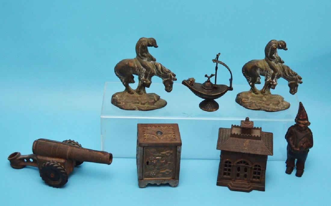 Antique Cast Iron Lot  ( Banks Doorstop, Cannon )