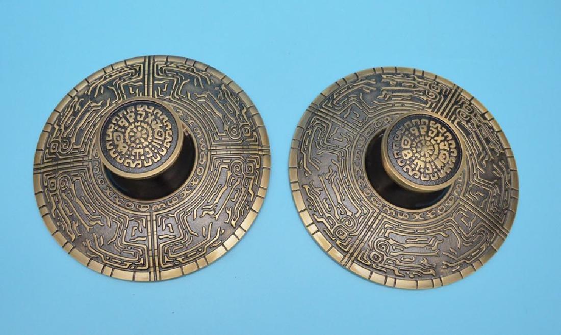 Pair of Chinese Style Schlage Bronze Doorknobs
