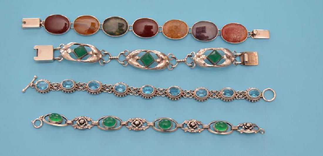 4 Stone & Sterling Silver Bracelets